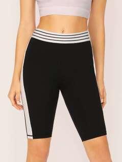 Stripe Waistband Side Tuxedo Stripe Biker Shorts