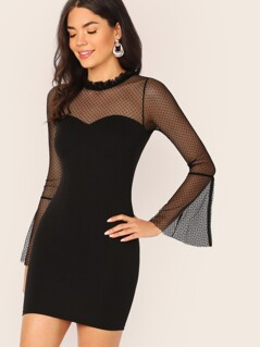 High Neck Polka Dot Mesh Yoke And Sleeve Dress