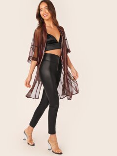 Metallic Sheer Shimmer Kimono Cover Up Cardigan