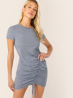 Crew Neck Jersey Slub Knit Ruched Side Mini Dress