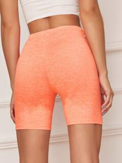 Neon Orange Slub Knit Cycling Shorts
