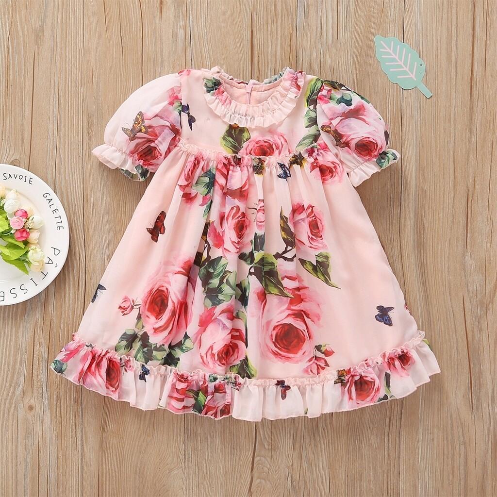 Roze  Schattig Bloemen Kleutermeisjes jurkjes Ruches