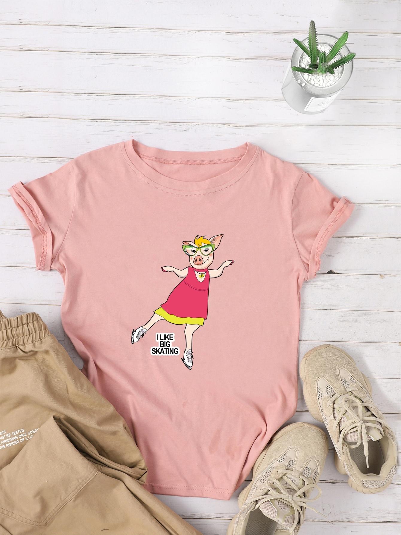 Фото - Футболку с принтом свиньи и текстовым от SheIn розового цвета