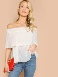 Off Shoulder Shirred Detail Foldover Pleated Top