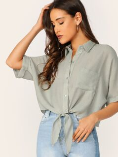 Pocket Patched Knot Hem Shirt
