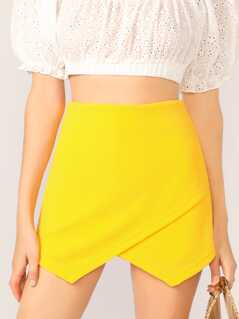 Neon Yellow Zip Back Asymmetric Shorts