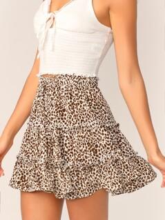 Leopard Print Layered Frill Trim Skater Skirt