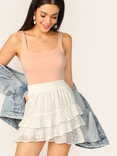 Shirred Wide Waistband Layered Schiffy Skirt