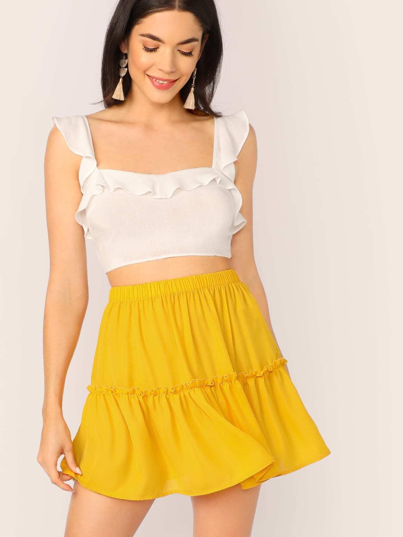 Фото - Юбку с эластичной талией от SheIn желтого цвета