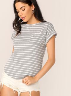 Pocket Patched Curved Hem Striped Tee