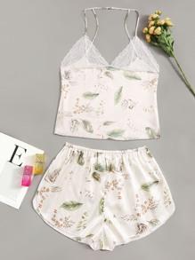 Short | Print | Leaf | Lace | Plus | Top