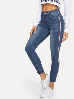 Contrast Striped Side Bleach Wash Jeans