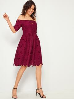 Off Shoulder Guipure Lace Solid Dress