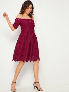 Off Shoulder Guipure Lace Solid Dress