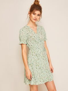 Tie Side Puff Sleeve Ditsy Floral Wrap Dress