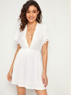Plunging Neck Lace Trim Flared Dress