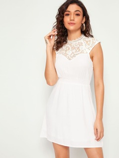 Sheer Lace Yoke Keyhole Back Sleeveless Dress