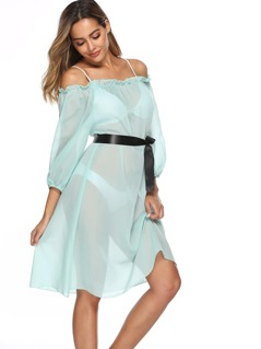 Off Shoulder Frill Trim Belted Sheer Cover Up