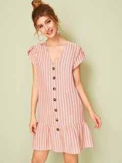 Petal Sleeve Drop Waist Button Up Striped Dress
