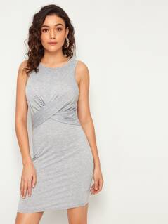 Cross Wrap Front Heathered Grey Tank Dress