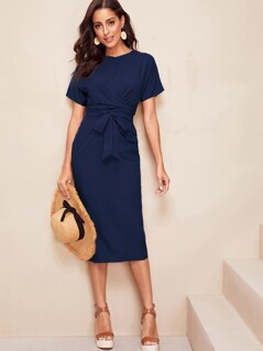 Cross Wrap Front Self Belted Pencil Dress