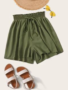Paperbag Waist Tie Front Shorts