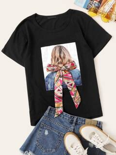 Figure Patch Bow Front Tee