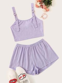 Solid Adjustable Strap Crop Top & Shorts Set