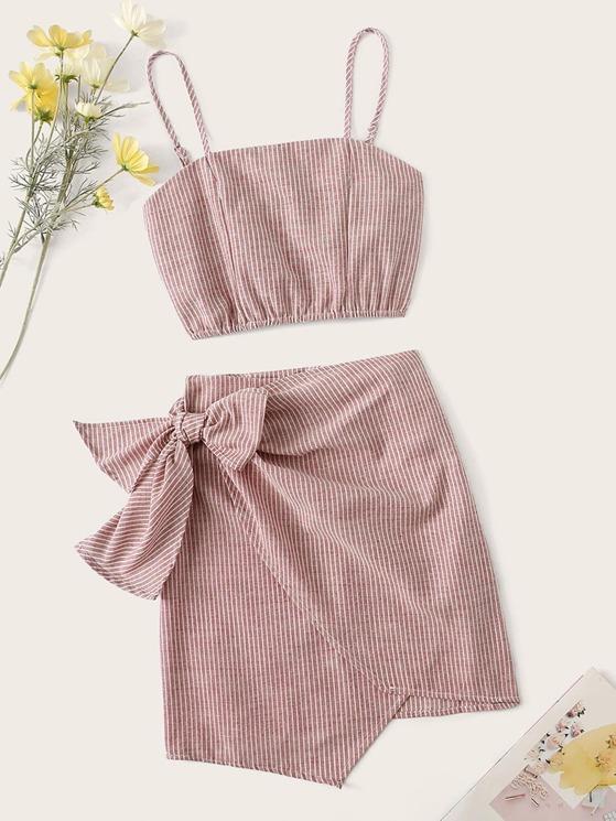 2f14b190ef Shirred Back Striped Top & Tie Side Wrap Skirt Set