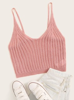 Solid Rib-knit Crop Cami Top