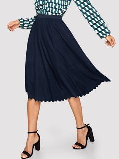 Chevron Hem Solid Midi Skirt
