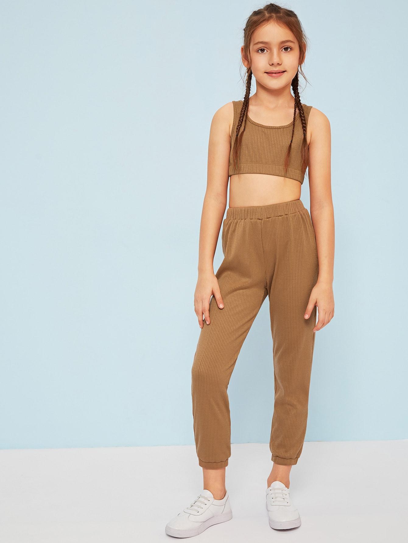 Вязаный ребристый кроп топ и спортивные брюки для девочек от SheIn