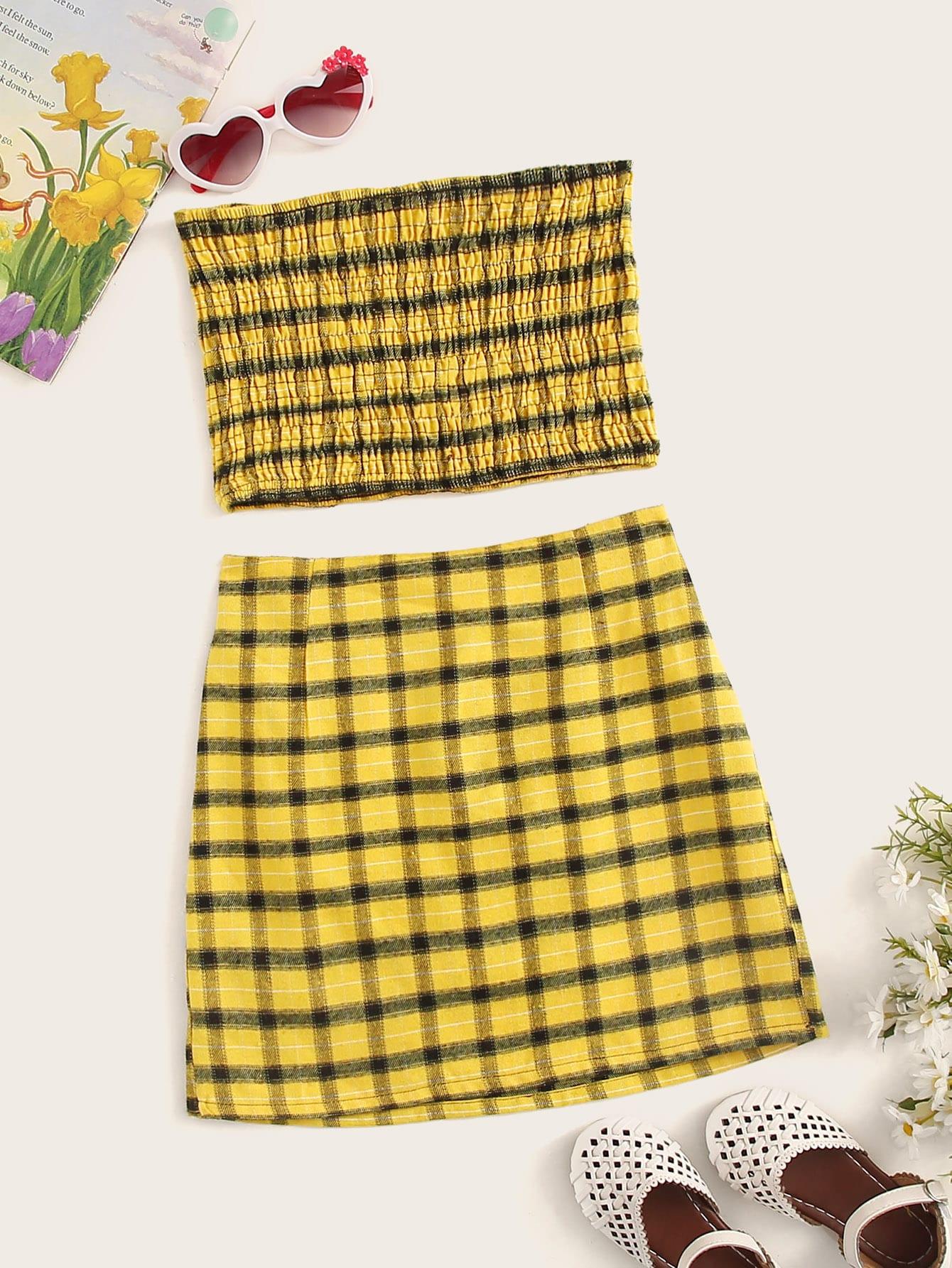 Фото - Топ в клетку и юбка для девочек от SheIn желтого цвета