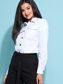 Contrast Button Detail Flap Pocket Blouse