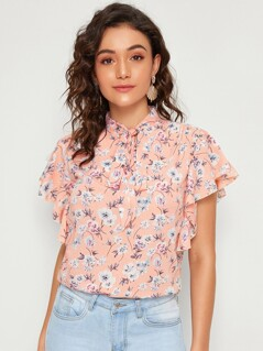 Tie Neck Butterfly Sleeve Ditsy Floral Top