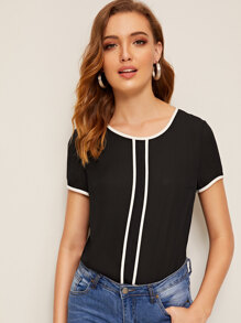 Keyhole Back Contrast Binding Top