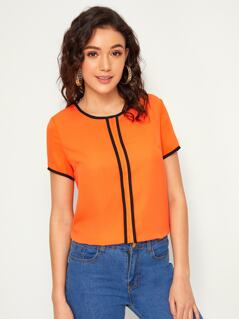 Neon Orange Contrast Binding Blouse