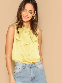 Solid Tie Neck Sleeveless Satin Top