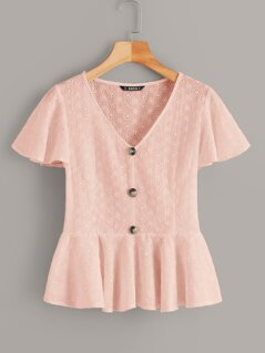 Schiffy Eyelet Button Up Peplum Tea Top