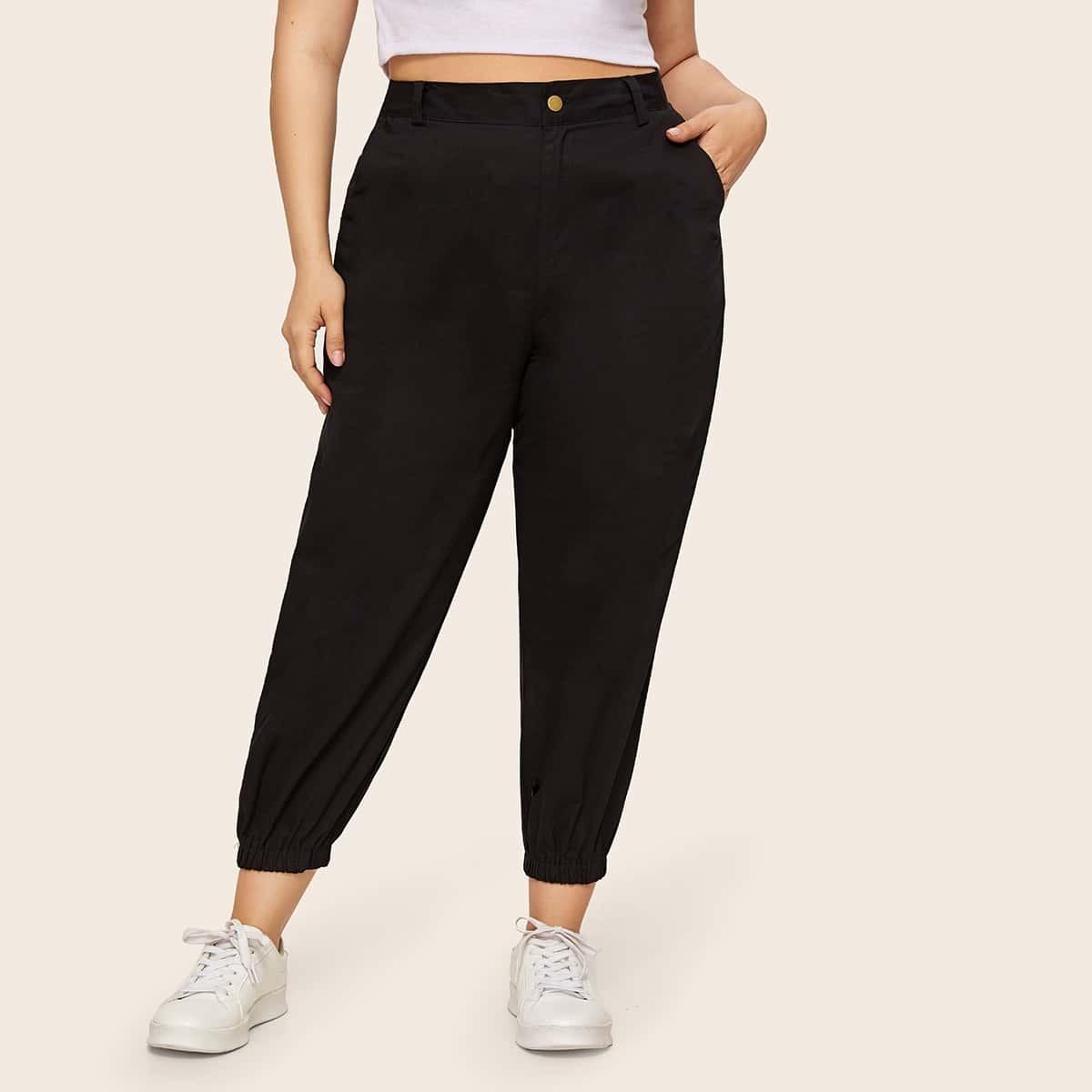 Plus Pocket Side Solid-jeans