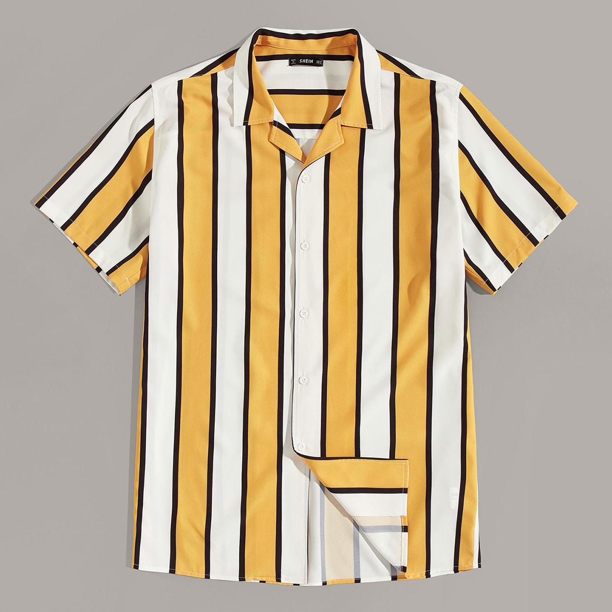 Veel kleurig Casual Gestreept Overhemden voor heren Voorpand met Knoopjes