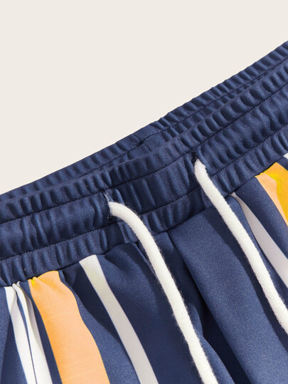 SheIn / Men Letter Print Pocket Detail Striped Shorts