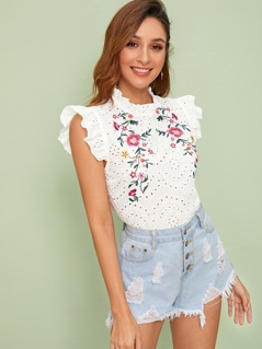 Ruffle Trim Embroidered Detail Schiffy Top
