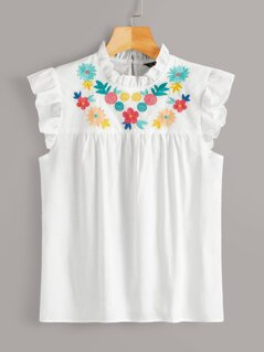 Ruffle Trim Embroidery Front Smock Top