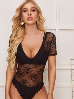 Double V Neckline Sheer Lace Bodysuit
