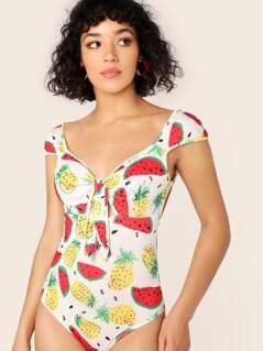 Tie Front Cap Sleeve Fruit Print Bodysuit