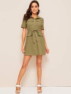 Roll Up Sleeve Flap Pocket Belted Shirt Dress