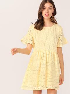 Solid Flounce Sleeve Schiffy Dress