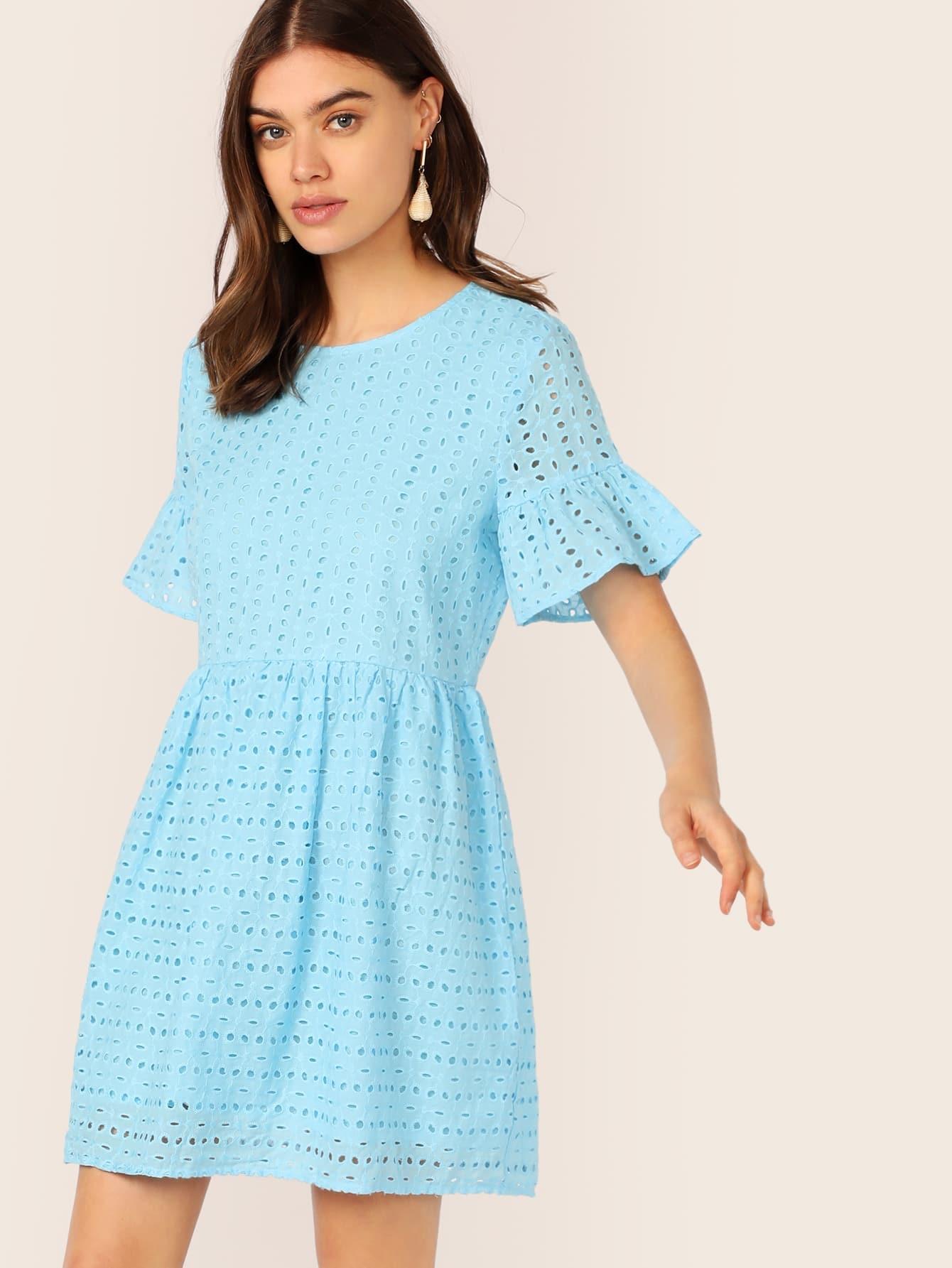 Фото - Однотонное платье с оригинальным рукавом от SheIn цвет синие