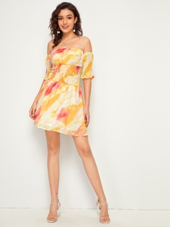 Off Shoulder Shirred Detail Tie Dye Tube Dress